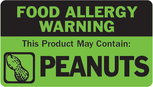 Allergen Label - This Product May Contain Peanuts
